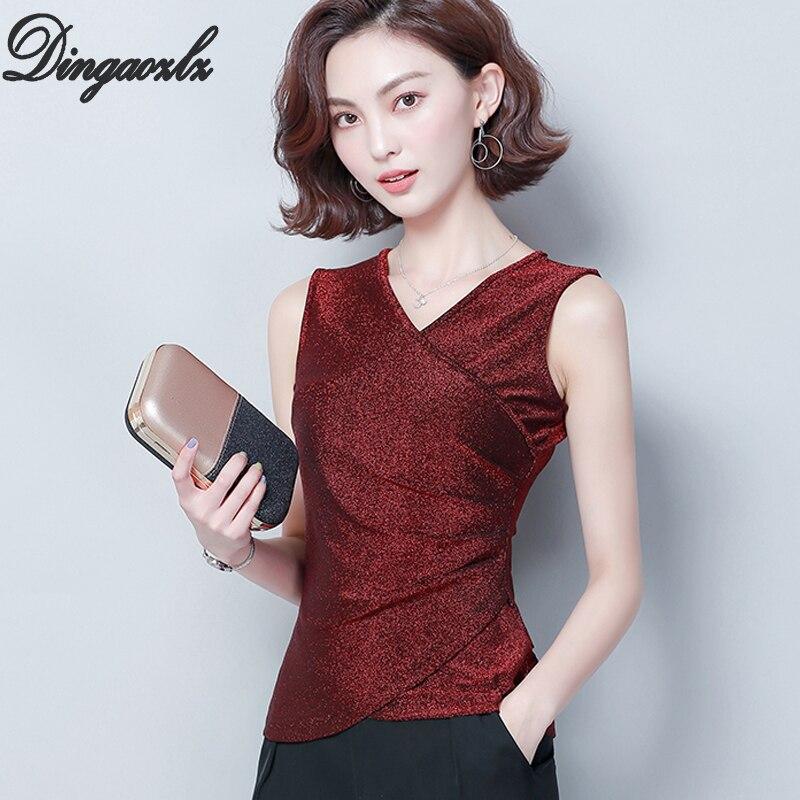 Dingaozlz Summer 2019 New Solid color Large Size Women Tops Bright Silk   Shirt   V-neck Sleeveless elasticity   Blouse     Shirt