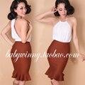 Envío gratis 2015 otoño invierno de punto falda de cola de pescado medias de cintura alta sólido marrón del todo fósforo Colthes mujeres ropa americana