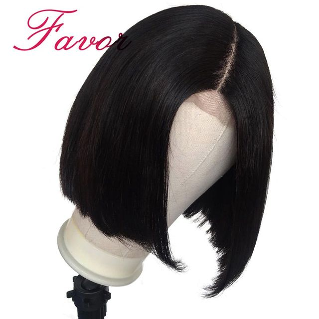 13x6 Short lace Front Human Hair Bob Wigs With Baby Hair 150% Density Brazilian Remy Straight Hair Wigs For Black Woman Favor