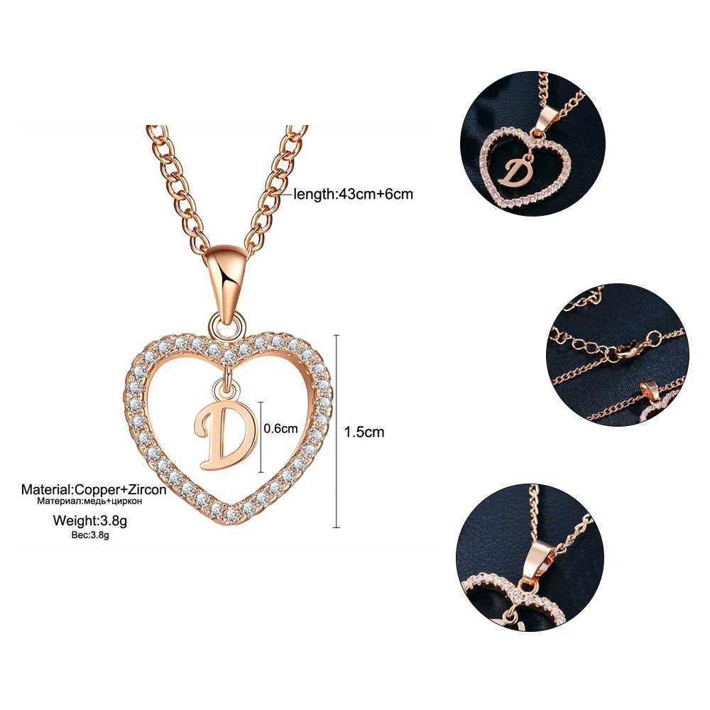 Se me romântico cor de ouro zircônia cúbica amor coração pingente de cristal carta nome colar encantos feminino 26 letras gargantilha jóias