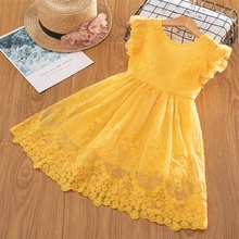2019 Girls Lace Embroidery Dresses For kids Girl Princess Tutu Birthday Party Girls Clothes Children Casual Wear Summer Frocks