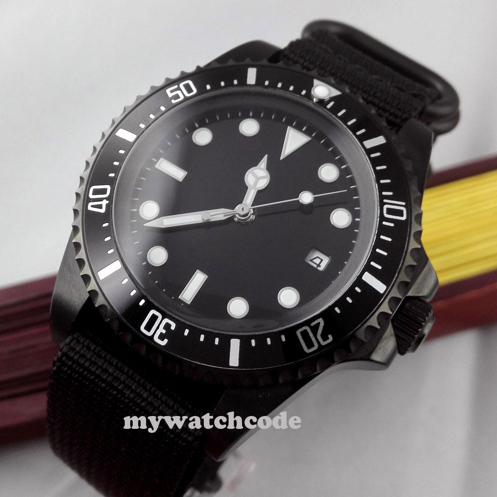 42mm parnis black dial luminous marks PVD automatic movement mens watch P309 цена и фото