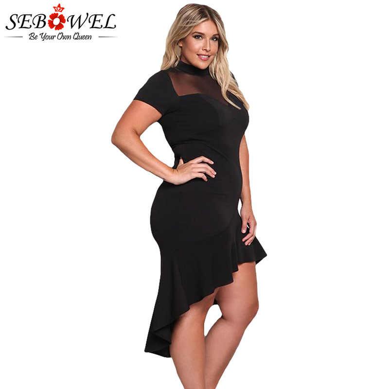 2d0fdab079 ... SEBOWEL Plus Size Sexy Black Mesh Club Dress Women Sexy Short Sleeve  Mesh Party Dress Big ...