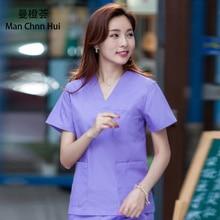 Surgical gown nursing uniform scrubs medical uniforms women  Summer short sleeve split suit Hospital doctor's overalls