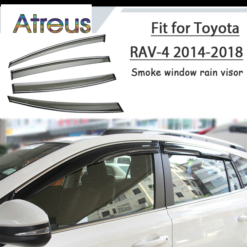 Atreus 1 set ABS pour 2018 2017 2016 2015 2014 RAV 4 Toyota RAV4 accessoires voiture évent déflecteurs de soleil garde fumée fenêtre pare-pluie