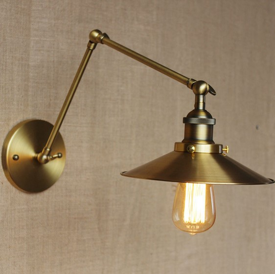 IWHD Brass Long Arm Vintage Wall Lamp Lights For Home Lighting Loft Industrial Edison Wall Sconce Led Stair Light brass glass wall lights led vintage edison american home stair lighting living room adjustable arm industrial wall lamp sconce