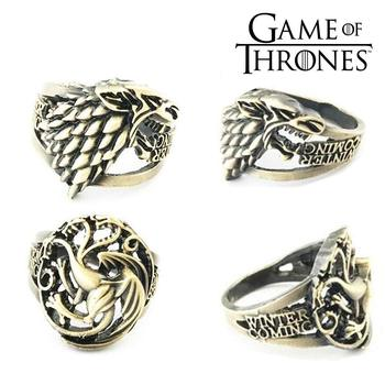 Game of Thrones House Targaryen Fire and Blood House Stark Winter is Coming Metal Ring Jewelry Ornament Cosplay Collection Gift hot sale 216 autumn winter game of thrones sweatshirt men house stark mens thick jacket a song of ice and fire winter is coming