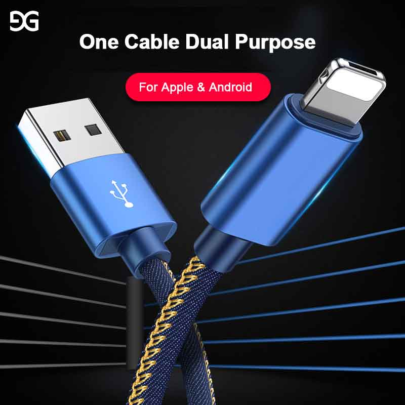 GUSGU 2in1 Cowboy Weaving Cable For iPhone X 8 plus 7 6 5 Mirco USB Cable For Android