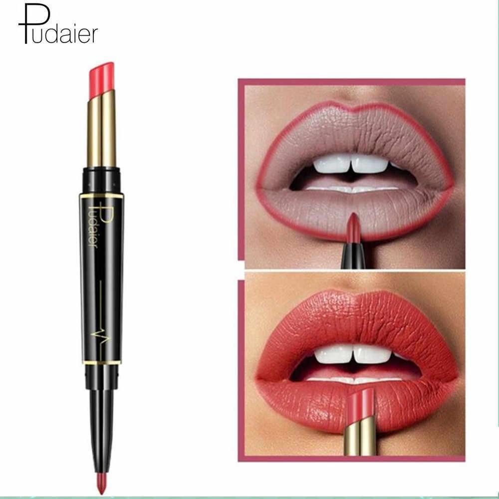 Pudaier מותג 16 צבע כפול הסתיים עירום קיימא עמיד למים שפתיים אוניית מט שפתון עירום כהה אדום שפות אניה עפרונות 2 ב 1