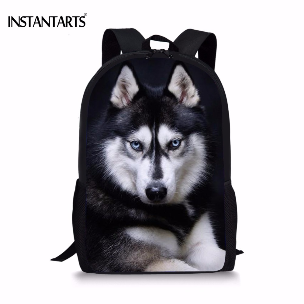 INSTANTARTS Girls Backpack Book-Shoulder-Bag Travel Laptop Husky Print Funny Teens Middle-School
