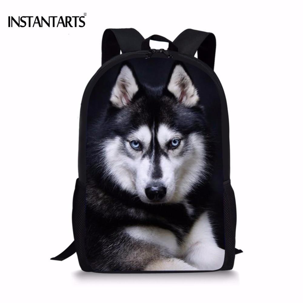INSTANTARTS Funny 3D Dog Husky Print Boys Girls Backpack Travel Laptop Dayback For Teens Middle School Student Book Shoulder Bag
