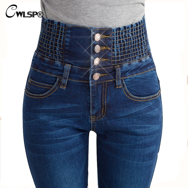 Aliexpress.com : Buy CWLSP Fashion High Waisted Jeans for women ...