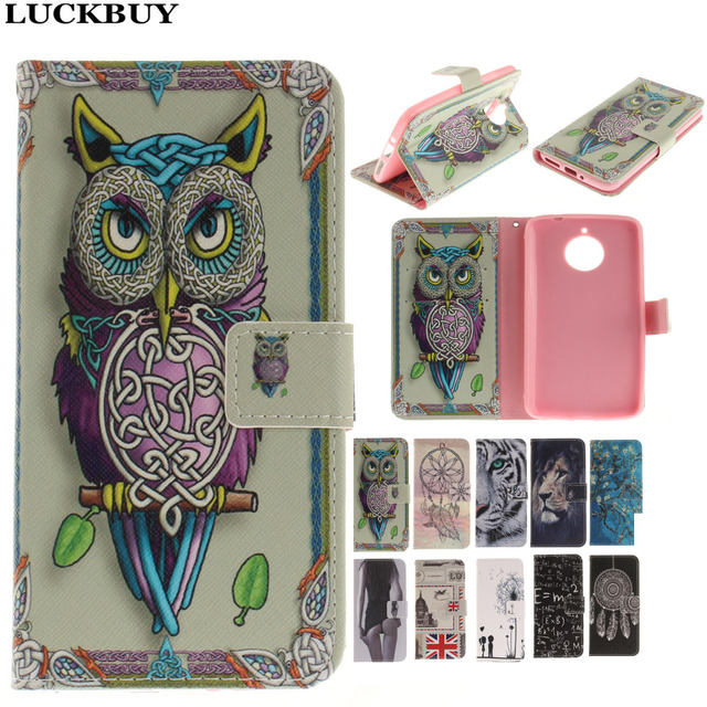 release date: 06b09 3b87a US $4.38  LUCKBUY Lovely Cute Owl Case For Motorola E4 Tiger Lion Girl  Flower Painted Wallet Cover For Moto E4 Plus Capa Phone bags coques-in  Wallet ...