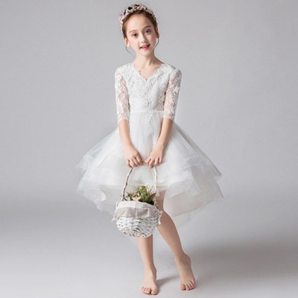 Nouvelle mode filles robe blanche princesse robes enfants traînant robe pour fête et mariage enfants robe de bal fille robe d'été - 2