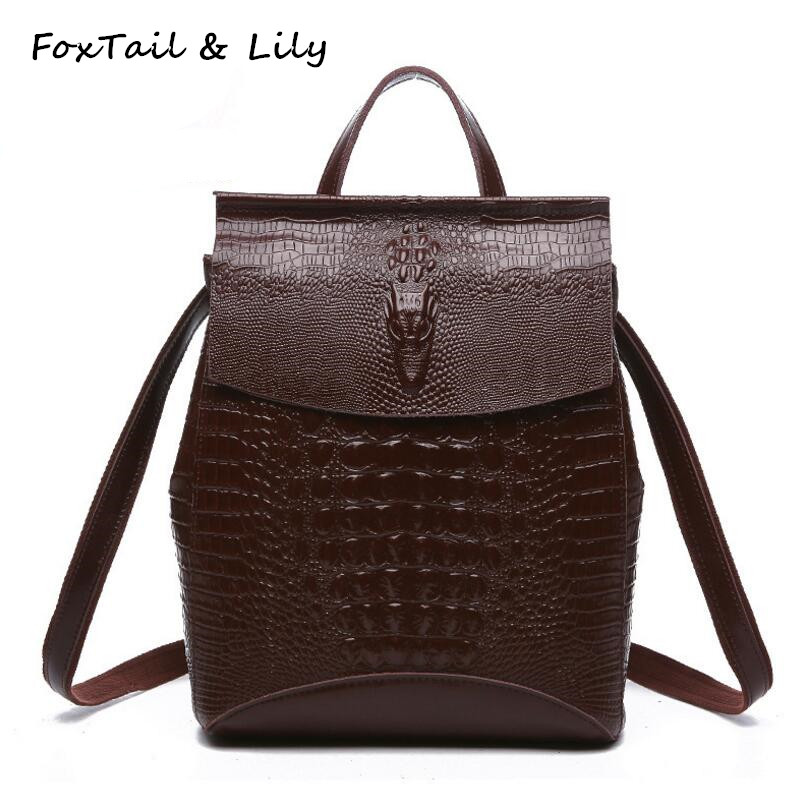 FoxTail & Lily Crocodile Pattern Women Genuine Leather Backpack Fashion Korea Style Real Leather Shoulder Bags School Backpacks elegant crocodile pattern fashion women backpacks multipurpose solid genuine leather bags