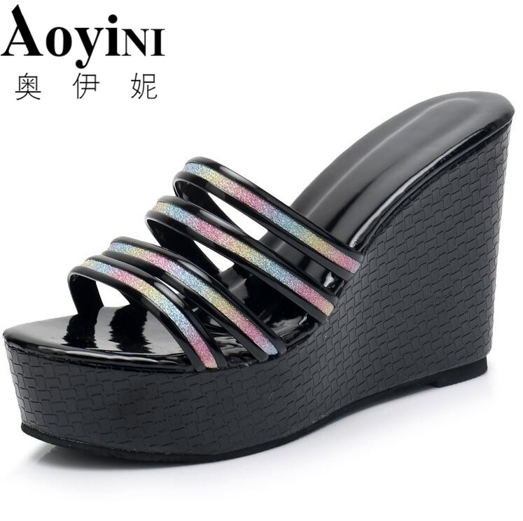 2018 New Woman Rainbow Color Women Sandals Cute Summer Wedges Platform High Slides Rubber Shoes Woman Slippers