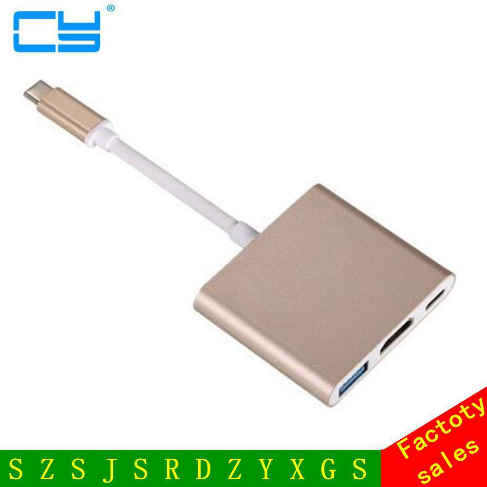 Free Shipping tracking number Type C USB 3.1 to HDMI Converter Adapter 3 in 1 HDMI HUB Charge for MacBook 12 4 in 1 usb c hub adapter usb 3 1 type c to hdmi 4k gigabit ethernet rj45 port usb 3 0 usb 3 1 converter for macbook laptop