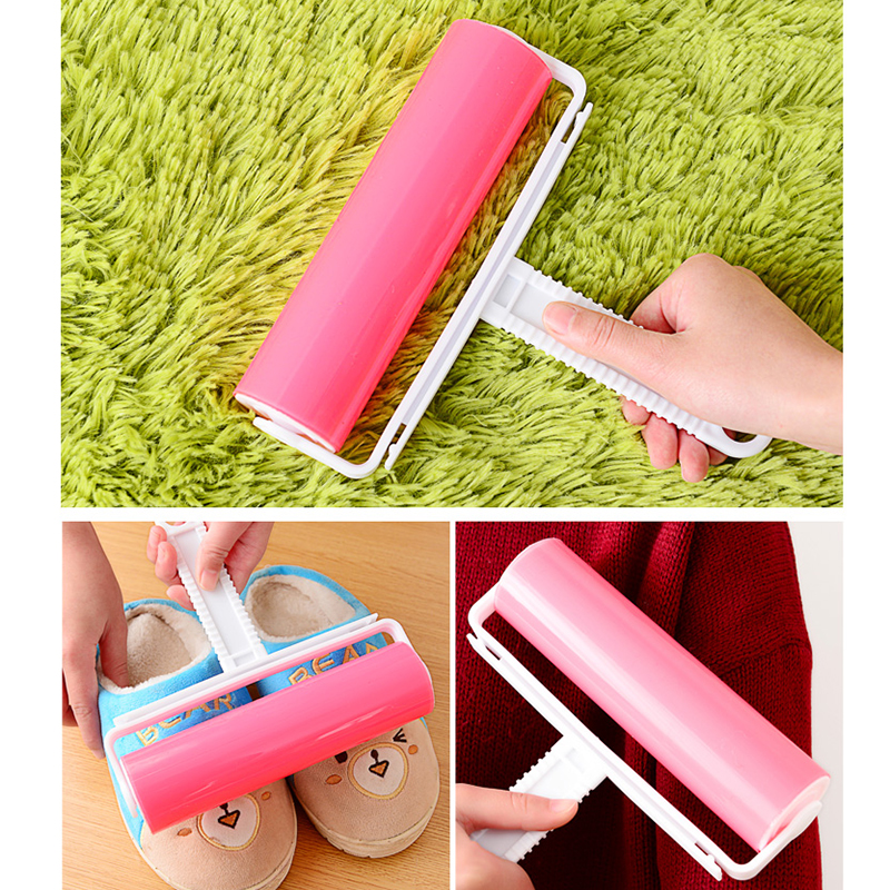 1pcs Reusable Clothing Lint Roller Sticky Brush Pet Hair Remover Drum Cleaning Brushes Washable Clothes Hair Dust Roller Cleaner