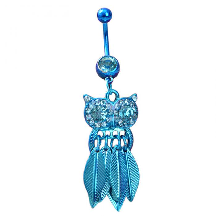 HTB1nTvaPpXXXXcRXXXXq6xXFXXXs Belly Button Piercing Jewelry Crystal Owl Dangle Belly Button Ring For Women - 4 Colors