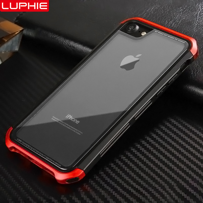 LUPHIE Luxury Case For iPhone XS X 8 7 Plus Transparent Cases Tempered Glass Cover For iPhone 6 6S Plus Case Metal Bumper Coque iPhone XS