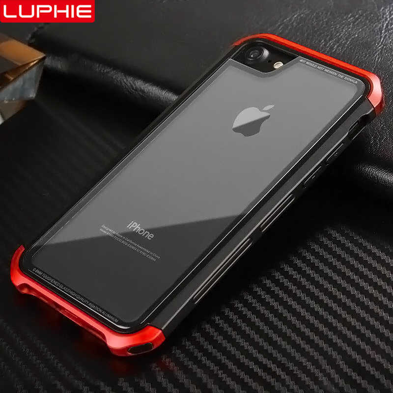 brand new 735ab 09eb0 LUPHIE Luxury Case For iPhone XS X 8 7 Plus Transparent Cases Tempered  Glass Cover For iPhone 6 6S Plus Case Metal Bumper Coque