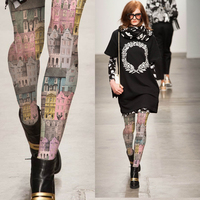 Women S Tights Retro Photo Building Color House Printed Pantyhose Female Girl Tights 140D