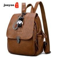 New Hot Fashion Women's Leather Travel Satchel Fashion PU Leather Bag Backpack School Rucksack Backpack Soft jooyoo