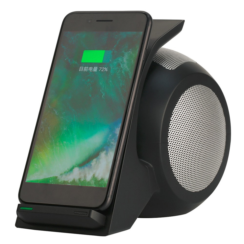 ФОТО WN1 Dual Coil Fast Charging Wireless Charger With Stereo Bluetooth Speakers High Efficiency For Mobile Phones Tablet PC