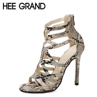 HEE GRAND Women Summer Boots Serpentine Printed PU Leather Shoes Woman Thin High Heels Gladiator Style Sandals Size 35 40 WXG042