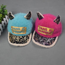 PARIS IS BURNING Korean Autumn And Winter children Ox horn Warm Patch hat Boy girls Outdoor warm leisure caps Kids casual hat