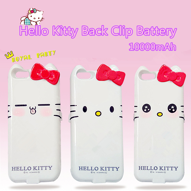 6800mAh For iPhone 7 6 6s Plus Hello Kitty Back Clip Battery External Power Case Fashion USB 1 to 2 Charger Free a Ring Stand