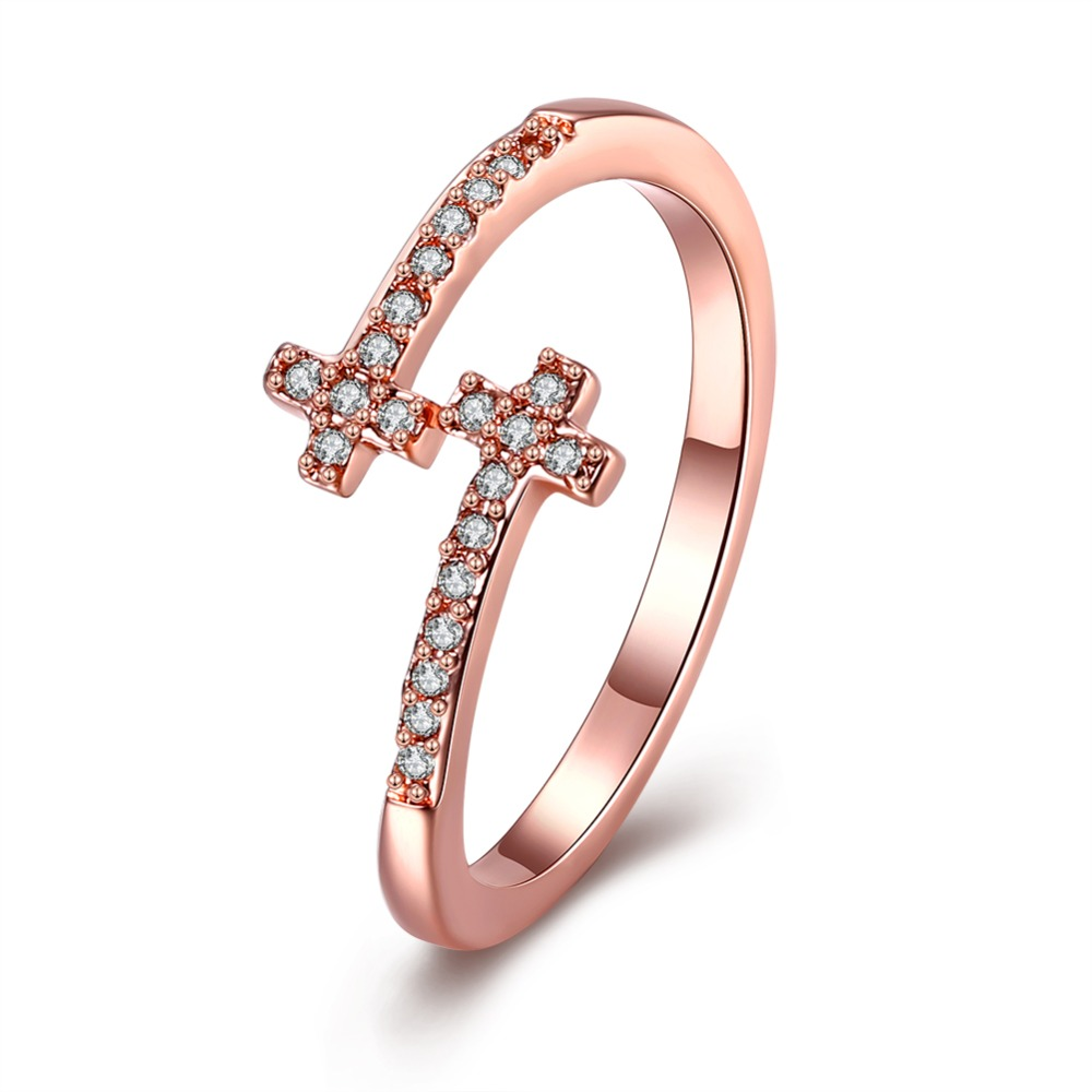 Rose Gold color / White Gold color Cross Open Finger Ring With Zircon Fashion Jewelry Christmas Gifts For Women Top Quality