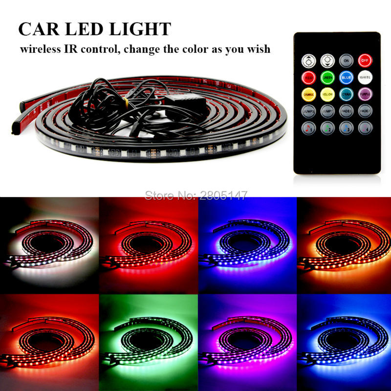 4Pcs Car Music Control RGB Strip Light Kit Flexible Atmosphere Lamp Foot Lamp Car Bumper Rear Bottom Light with IR Remote Use