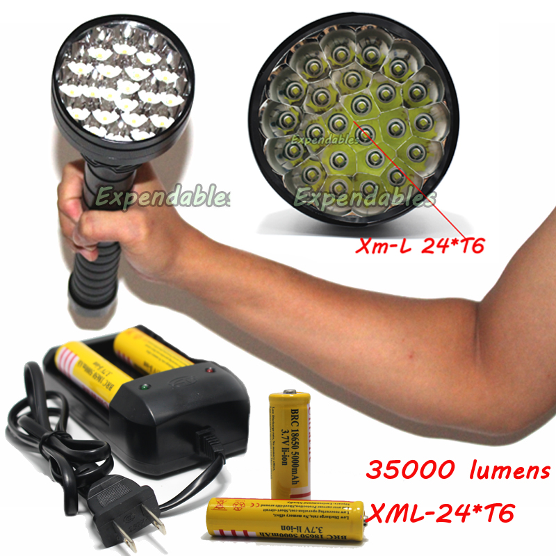 35000 lumens High Power LED flashlight XML-24*T6 Hunting Lights Lamp Lighting tactical LED Flashlights +battery+charger sitemap 24 xml