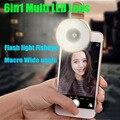 2017 Teléfono con Cámara de Lente Lentes de Ojo de Pez Gran Angular Macro Kit de Linterna LED para sony xperia z1 z3 compact m5 g4c xa lg g2 g3 g5