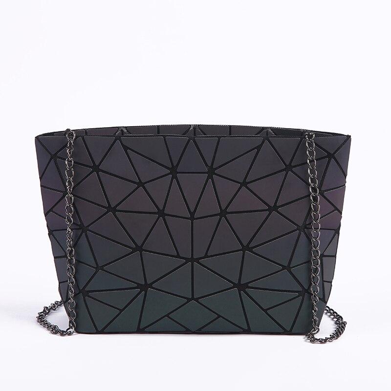 Neue Frauen Kette Schulter Tasche Leucht sac Bao Tasche Mode Geometrie Messenger Taschen Einfachen Klapp Umhängetaschen Clutch bolso