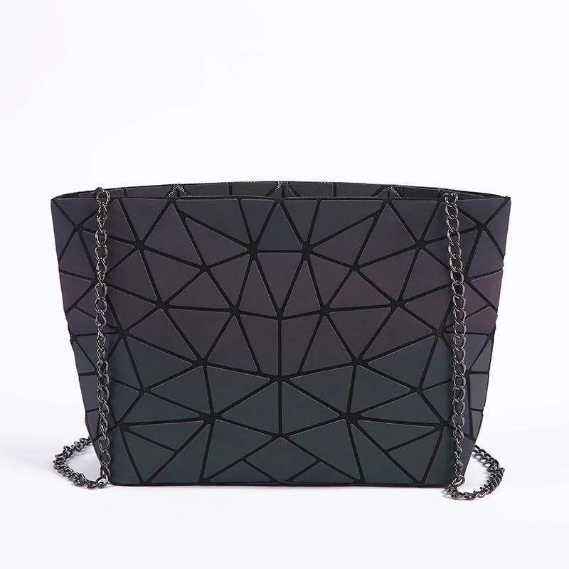 Nueva cadena de las mujeres bolsa de hombro luminoso sac bolsa Bao moda geometría mensajero Plain plegable bolsos Crossbody embrague bolso