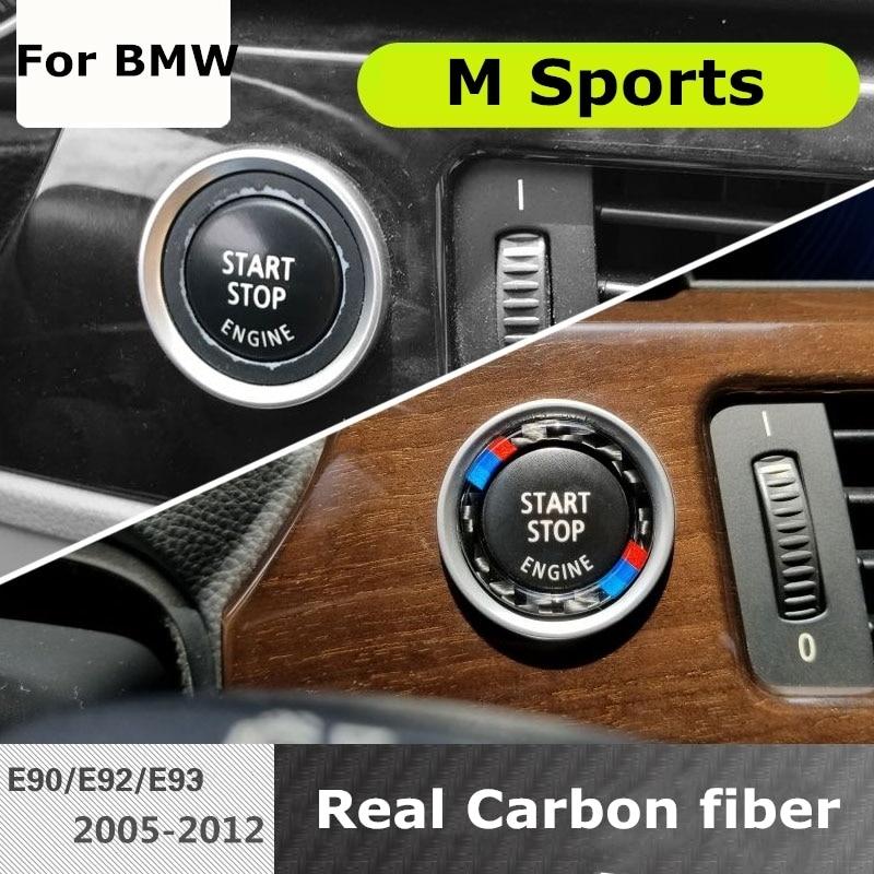 Carbon Fiber Car Engine Start Stop Button Cover M stripe logo Key Ignition Stickers for BMW E90 E92 E93 3 series 320 325i 335i d