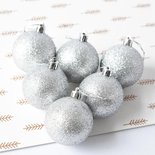 6 Pcs/Set Christmas Baubles Ornament Ball Party Home Garden Decor Christmas Ornament  Decoration 2D