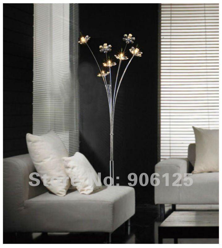 Nordic Modern Crystal Floor Lamp Chrome Flower Used In Living Room