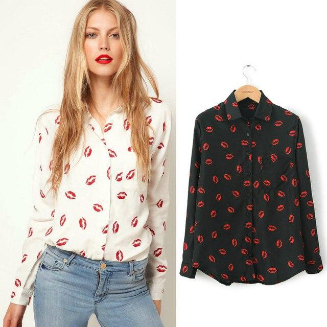00a21cbd S-XL,Blouses 2016 New Women Hot Sale Brand Design High Street Elegant Lips  Print Chiffon Blouse Shirt,black;white office blouse