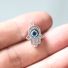 Cheap Wholesale 30pcs/lot Hamsa Hand Of Fatima Evil Eye Charms For Lucky Bracelets /Necklace
