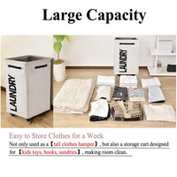 Laundry Basket Foldable Storage Basket with Wheel Waterproof Oxford Bathroom Laundry Hamper