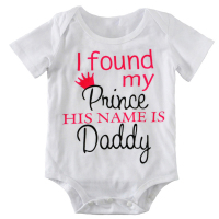 2017 Summer Baby Boy Girls Clothes 0 2T BABY BODYSUIT Letters I Found My Prince His