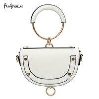 FuAhaLu new fashion saddle bag round handbag spring and summer shoulder Messenger bag