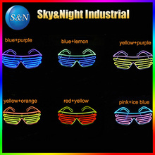 5PC/Lot EL wire two colors mix flashing glasses LED glasses EL glasses