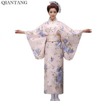 New Classic Traditional Japanese Women Yukata Kimono With Obi Stage Performance Dance Costumes One Size HW047