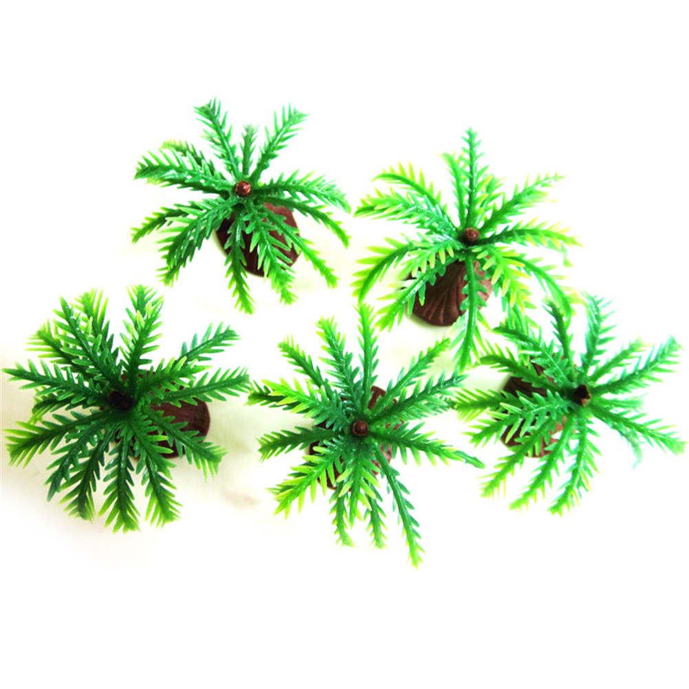 10pcs Mini Landscape Model Palms Tree Fish Tank Decoration Aquatic Plants Green Coconut Green Scenery Kids Toy