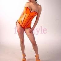 Frete grátis Via EMS hot vender sexy fetiche de látex laranja Feixe cintura látex de borracha espartilho