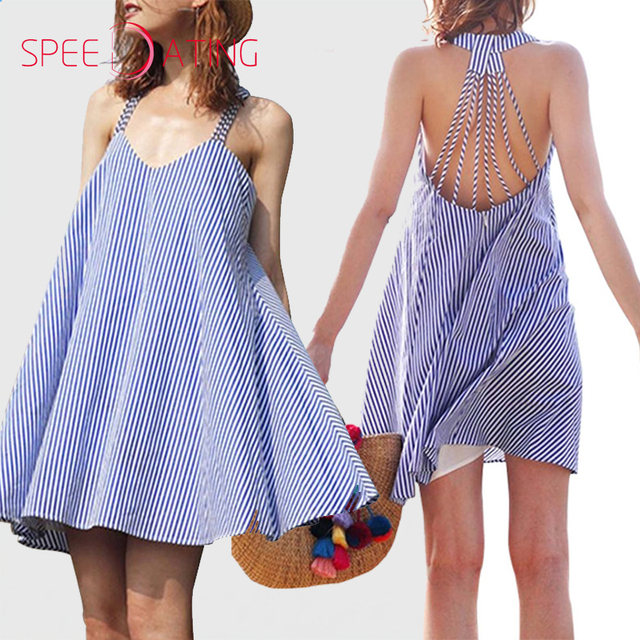 f607be00 New Design Spaghetti Strap Back Hole Striped Shift Dresses V neck Loose  Short Mini Dresses Flare Beach Vacation Dress SPEEDATING